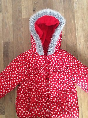 Mother Care Girls Red Jacket With White Flora Print, Hood Aged 24-36 Months