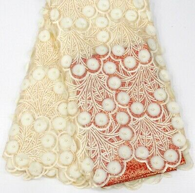 3D Lace Fabric (5yards) Ivory Colour For Dressmaking Sewing And Craft