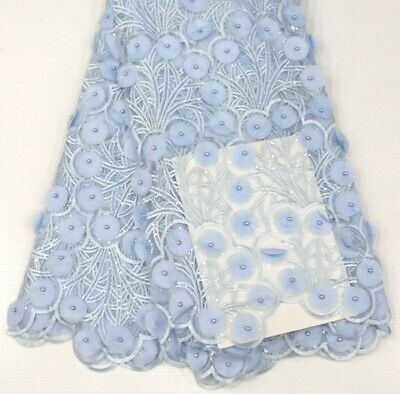 3D Lace Fabric (5yards) Blue Colour For Dressmaking Sewing And Craft