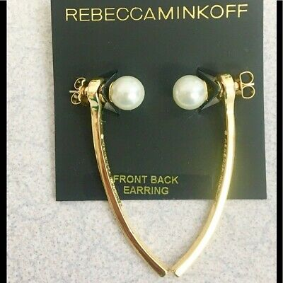 Rebecca Minkoff Silver Plated Ball with Curved Bar Front-back Earrings NEW