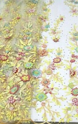 Lace Fabric (5yards) Multi Colour With Stones  For Dressmaking Sewing And Craft
