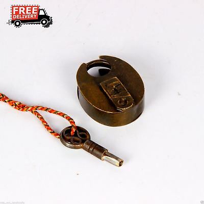 Old Vintage Antique Brass Handcrafted Pad Lock Solid  Lock & Key 1488
