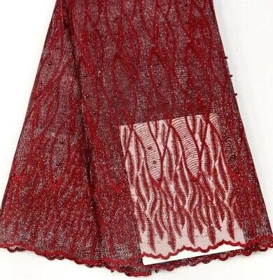 Lace Fabric (5yards) Red  With Silver Sparkling For Dressmaking Sewing And Craft