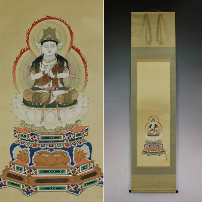 JAPANESE PAINTING HANGING SCROLL JAPAN Buddhism ANTIQUE VINTAGE PICTURE 026n