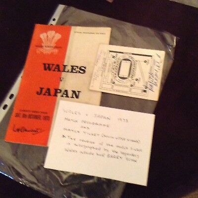 Wales vs Japan rugby match programme and ticket