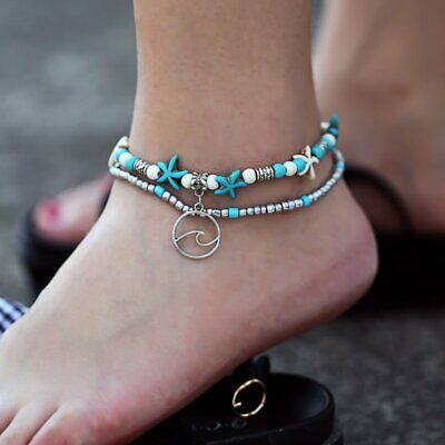 2pcs Women Boho Starfish Shells Wave Anklet Bracelet Sandals Beach Adjustable