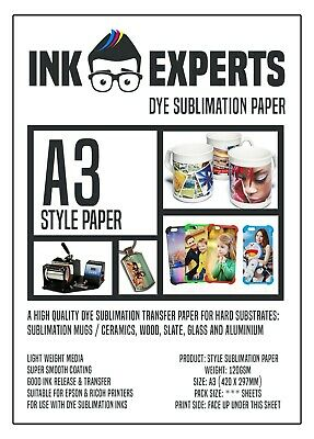 A3 Subli-Style 120g Sublimation Heat Transfer Paper 100 Sheet for hard substrate