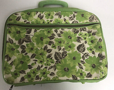 Vintage 60's - 70's Mod Green Floral Small Zippered Suitcase