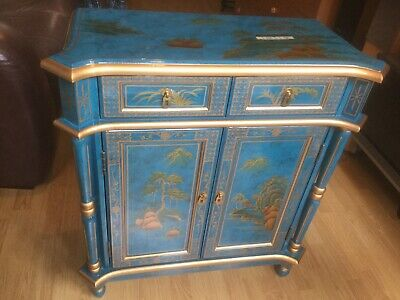 BLUE CHINESE STYLE CABINET. (collection Only)
