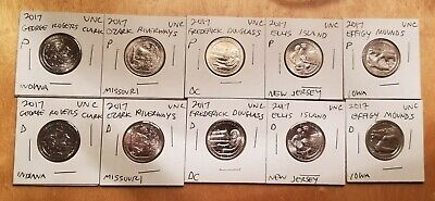 Complete Set of 10 x 2017 US QUARTERS D & P  in BRILLIANT UNCIRCULATED CONDITION