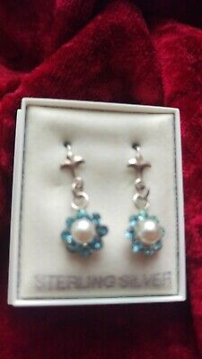 Silver Earings.  Light Blue/ Aqua Austrian Crystal ,centre Pearl