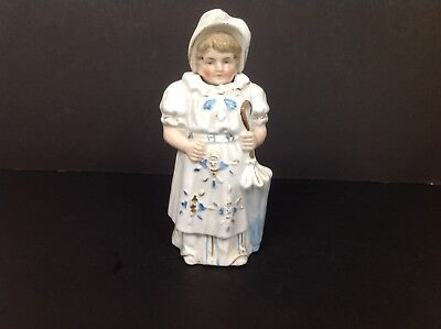 Large Continental Victorian Nodding Head Figure Of Girl With Parasol