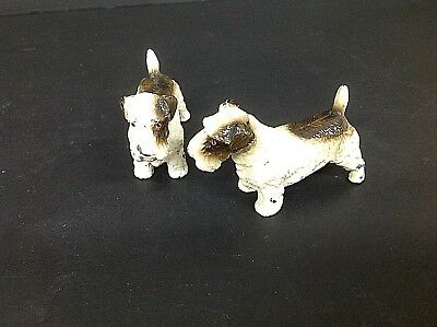 Vintage Art Deco era Cold Painted Spelter Figures of Terrier Dogs Lovely