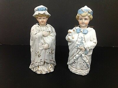 Large Continental Victorian Nodding Head Figures Of Two Girls In Nightgowns