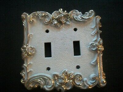 Vtg American Tack & Hardware Brass~WHITE~Double Gang Light Switch Cover 1967