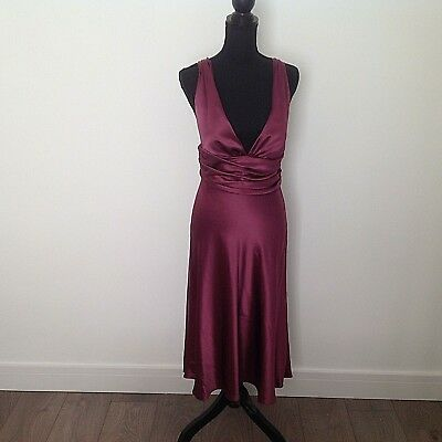 Ispirato plum satin look party Dress - Size 12 very Marilyn Monroe style