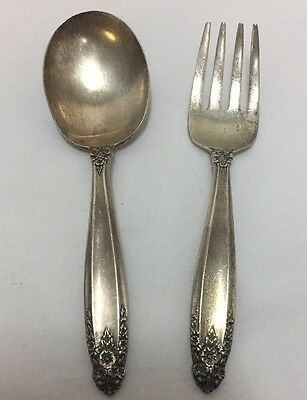 Vintage Prelude Baby Child Sterling Silver 2 Piece Spoon Fork Set No Mono