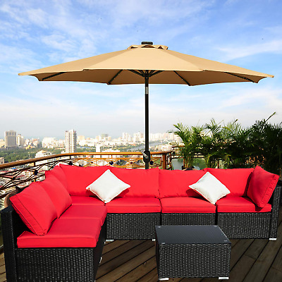 5/7PC Rattan Wicker Sofa Set Outdoor Patio Furniture Sectional Couch Cushion Red