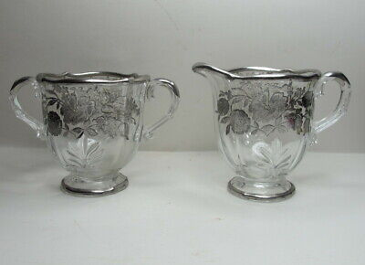 Antique Sterling Silver Overlay on Crystal/Glass Creamer & Sugar Bowl