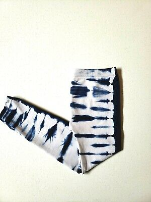 POOF GIRLS Blue And White Tie Dye Stretch Leggings Size M/L