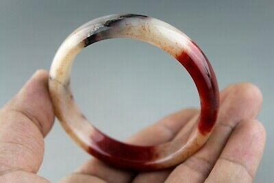 Exquisite Chinese old antique red blood jade hand-carved bangle bracelet 0007