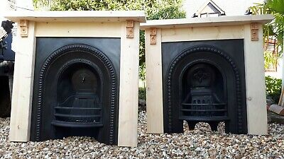 Pair of Large Original Victorian Cast Iron Fireplace Inserts & Surrounds
