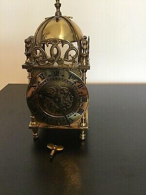 Antique/vintage Smiths Brass Lantern Clock in good working order As Per Pic