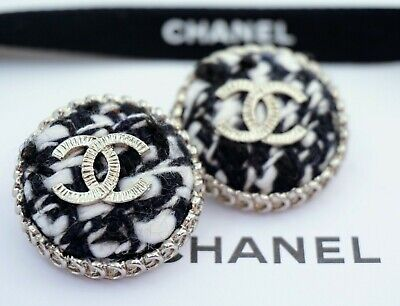 CHANEL BUTTONS SET OF 2 CC LOGO 1inch 25mm BLACK WHITE VELVET SILVER TONE METAL