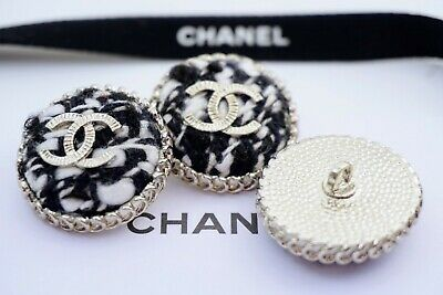 CHANEL BUTTONS SET OF 3 CC LOGO 1inch 25mm BLACK WHITE VELVET SILVER TONE METAL