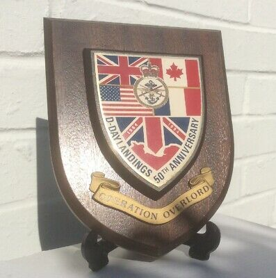 Vintage Hand Painted British Army D-Day Op Overload 50Th  Metallic Wall Plaque