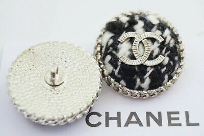Chanel Buttons Cc Logo 1 Inch 25 Mm Black White Velvet And Silver Tone Metal