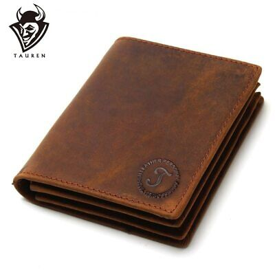Vintage Crazy Horse Handmade Leather Men Wallets Multi-Functional Cowhide Coin