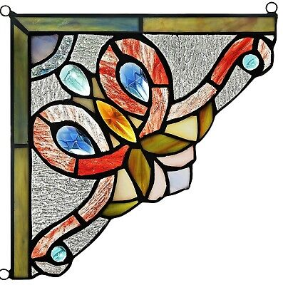 """Victorian Tiffany Style Stained Glass Corner Window Panel 8"""" Home Decor"""