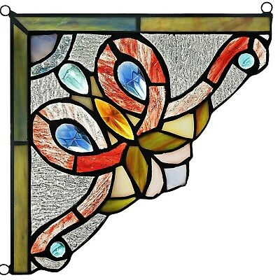 """Set of 2 Victorian Tiffany Style Stained Glass Corner Window Panel 8"""" Home Decor"""