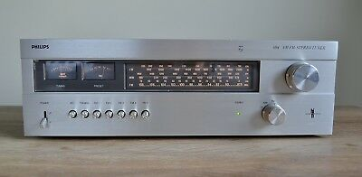 Philips 694 Vintage AM/FM Stereo Tuner Made in Belgium Wooden Cover 1978