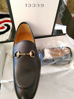 a9712229fb2 GUCCI MEN PRINCETOWN FUR-LINED LEATHER SLIPPERS SHOES Sz10.5 Black ...