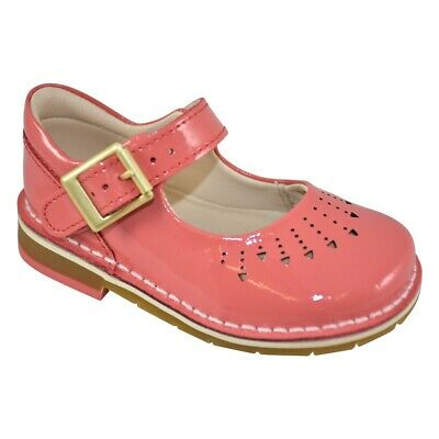 Clarks Girls Yarn Jump Coral Patent Leather Shoes Uk Infant Size 5 F