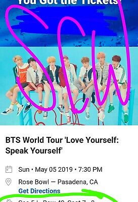 2 bts concert tickets, Rose Bowl , Sunday May 5th. Instant transfer tickets.