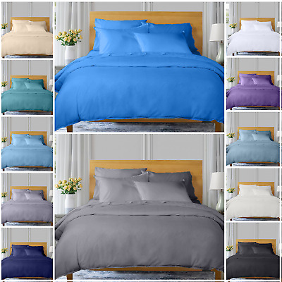 400 Tc 100% Egyptian Cotton 4 Piece Bedding Set Duvet Cover Fitted Sheet Pillow