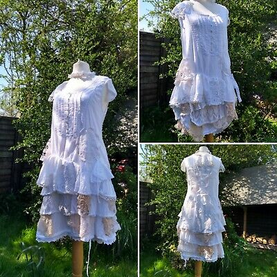 Quirky Hitch Lagenlook Bohemian Southern Gothic White Dress Freesize 10-16