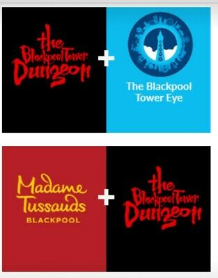 2 TICKETS TO 2 BLACKPOOL ATTRACTIONS **** Madame Tussauds, Dungeon and Tower