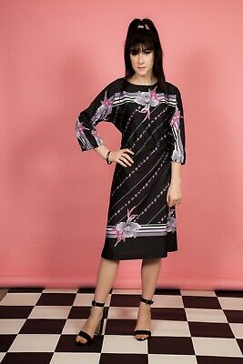 Vintage black pink & purple Lily print day dress - summer dress