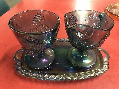 Indiana Blue Iridescent Carnival Glass Harvest Grape Creamer Sugar Bowl & Tray
