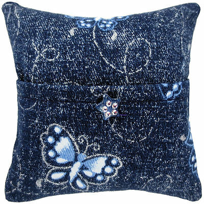 Tooth Fairy Pillow, navy blue, butterfly print fabric, star bead trim for girls