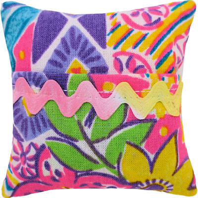 Tooth Fairy Pillow, multicolor print fabric, large pastel ric rac trim for girls