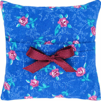 Tooth Fairy Pillow, blue, rose print fabric, maroon ribbon bow trim for girls