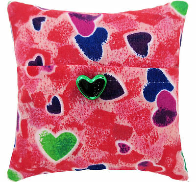 Tooth Fairy Pillow, red, heart print fabric, green heart bead trim for girls
