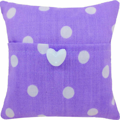 Tooth Fairy Pillow, purple, polka dot fabric, white heart button trim for girl