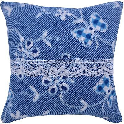 Tooth Fairy Pillow, blue, flowers & bow print fabric, white lace trim for girls
