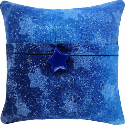 Tooth Fairy Pillow, shades of blue, star print sparkling fabric, blue star bead
